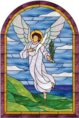Custom Made Angel & Seashore Stained Glass Window