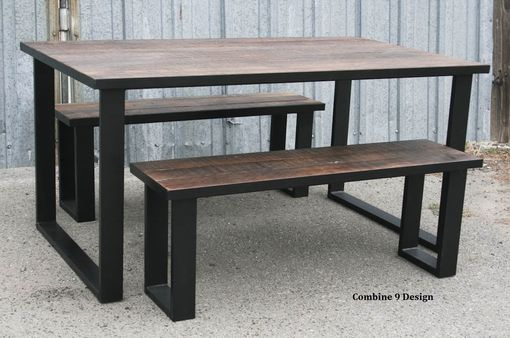Custom Made Reclaimed Wood Dining Set - Industrial, Steel, Rustic Farmhouse Table & Bench (Benches).