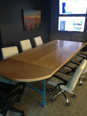 Custom Made Industrial Maple And Painted Blue Steel Conference Table