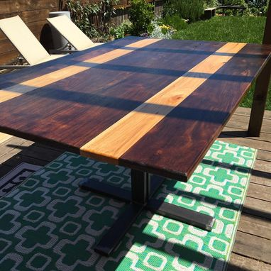 Custom Made Walnut And Hickory Striped Dining Table