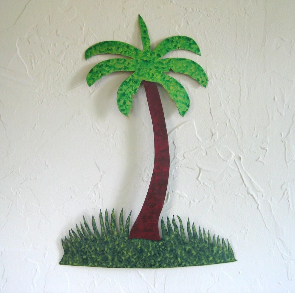 Palm Tree Metal Wall Art custom made handmade upcycled metal palm tree wall art decor