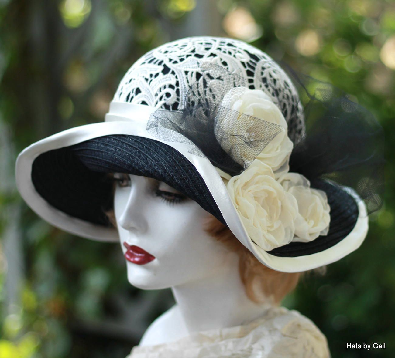 7668693adc37 Custom Made Womens Wide Brim Fancy Straw Summer Hat Downton Abbey Style
