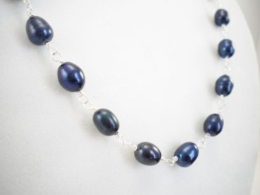 Custom Made Blue Freshwater Pearl And Sterling Silver Necklace