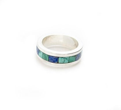 Custom Made Eternity Ring - Infinitity Inlay Ring - Malachite Inlay Ring - Turquoise Ring - Lapis Ring
