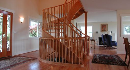 Custom Made Graceful Red Oak Two Story Tight Spiral Stair
