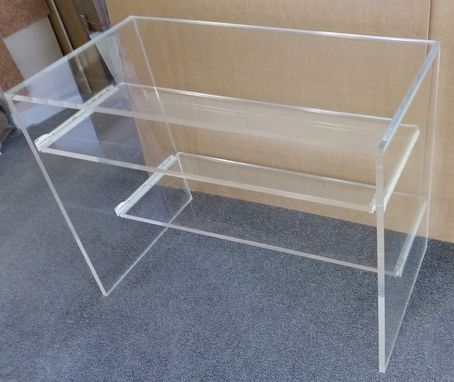 Custom Made Acrylic Desk, Straight Edge, Slab Leg With Pull Out Shelves - Made To Order, Custom Sizes Welcome