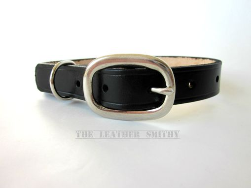 Custom Made Black Leather Dog Collar For Medium Dogs 3/4 Inch Wide