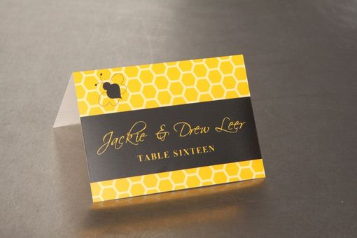 Custom Made Wedding Place Cards - Honeycomb And Bee - Escort Cards Favor Tags Custom Designed