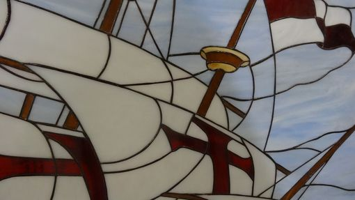 Custom Made Stained Glass Picture Of Santa Maria Columbus Ship