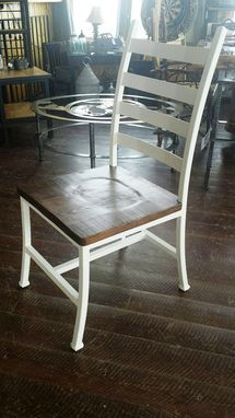 Custom Made Handcrafted Iron Metal Dining Chair With Douglas Fir Wood Seat