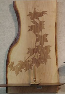 Custom Made Big Leaf Maple Slab Wall Art With Engraved Vine Drawing
