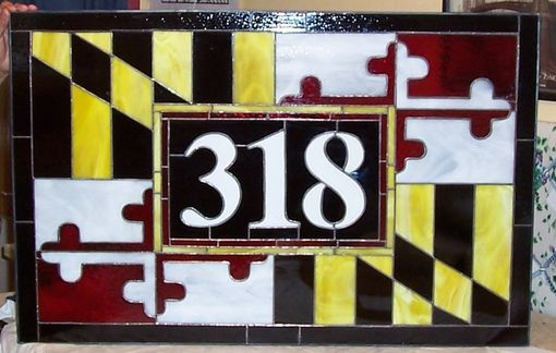 Custom Made Stained Glass Window - Maryland Flag Transom (Am-35)