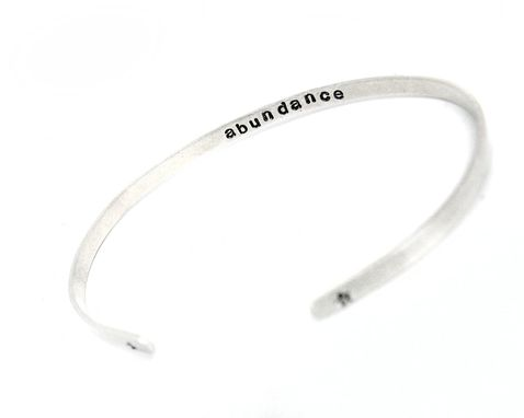 Custom Made Secret Message Bracelet - Skinny Sterling Silver Adjustable Cuff With Stamped Message On The Inside