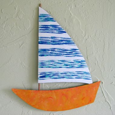 Custom Made Handmade Upcycled Metal Sailboat Wall Art Sculpture In Blue And Orange