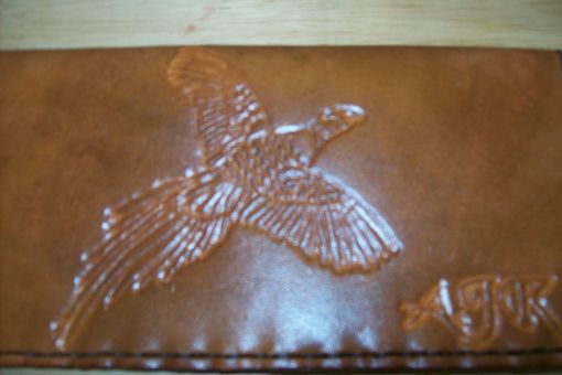 Custom Made Custom Leather Checkbook Cover With Pheasant Design