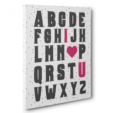 Custom Made Alphabet I Love You Nursery Canvas Wall Art
