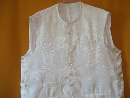 Custom Made Clergy Vest Made From White Jacquard Clergy Cloth