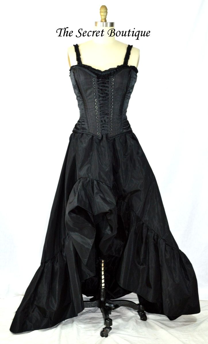 Custom made black romantic victorian wedding dress by the for Victorian corset wedding dresses