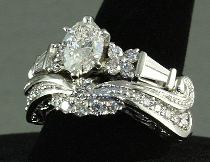 Custom Made Platinum Diamond Ornate Bridal Set