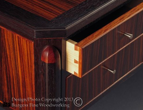 Custom Made Elegant Executive Desk In Rosewood And Wenge