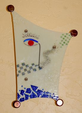 "Custom Made Fused Glass Wall Sconce - ""Observer"" - Sold"