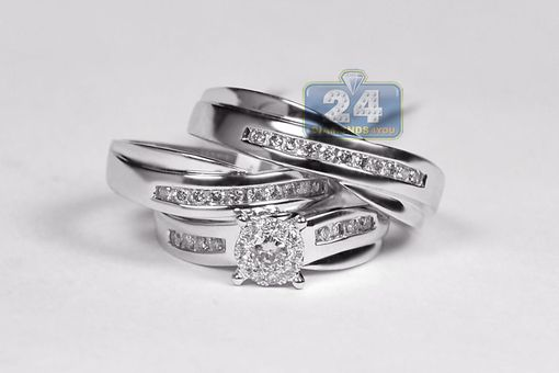 Custom Made Mens Womens Diamond Engagement Three Ring Set 14k White Gold 0.64 Ct Round Cut