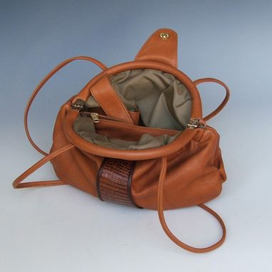 Custom Made Erin, Elegant Crescent Frame Leather Bag
