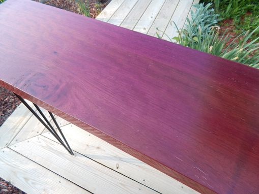 Custom Made Purple Heart Slab Console/Entryway Table