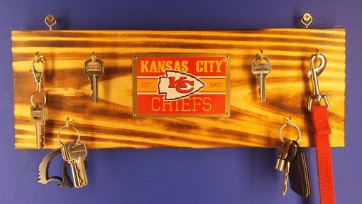 Custom Made Rustic Wall Hanging Keychain Rack With Kansas City Chiefs Logo Or Your Baseball Team Choice