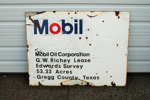 Custom Made Large Mobil Porcelain Oil Lease Sign