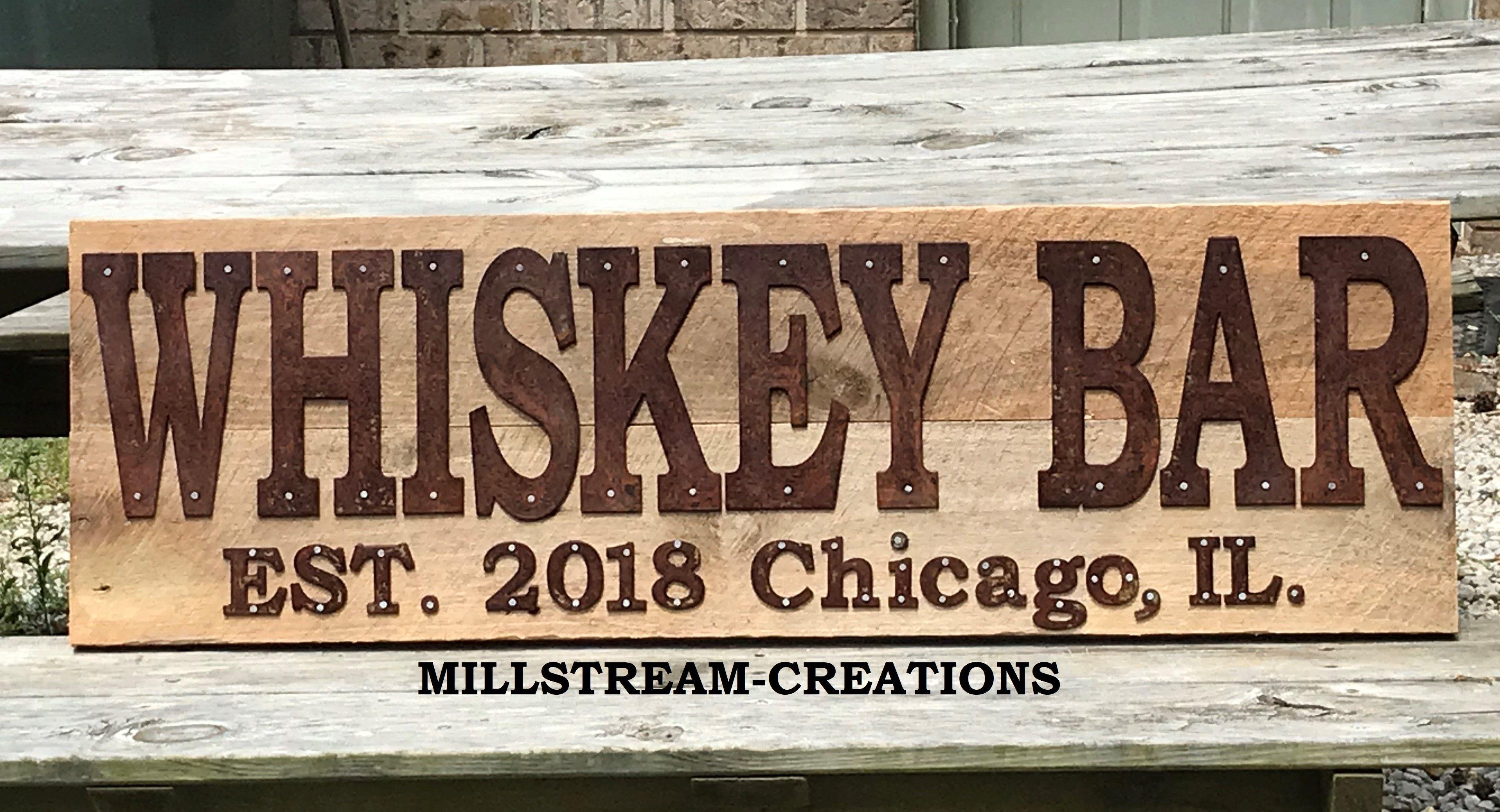 Custom Made Whiskey Bar Sign Ready To Ship