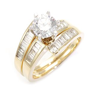 Custom Made Baguette Diamond Ring And Matching Band In 14k Yellow Gold, Wedding Set Rings