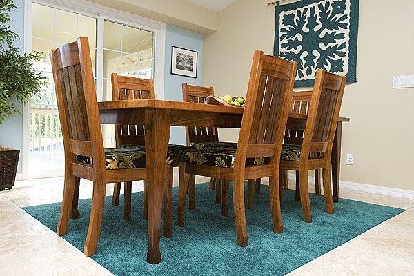 Custom Hawaiian Curly Koa Dining Table And Chair By Keaau Fine Art Custommade