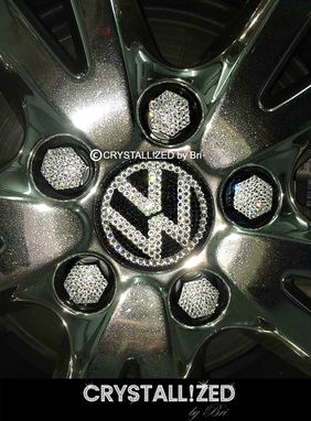 Custom Made Crystallized Car Lug Nut Cover Caps Made With Swarovski Crystals - 17mm