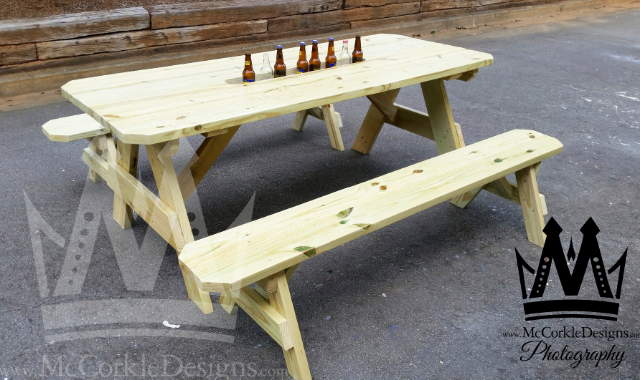 Buy Hand Crafted Ft Picnic Table With Built In Detached Seats Made - Picnic table with grill built in