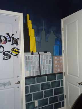 Custom Gotham City And Batman Control Room Mural By Kid