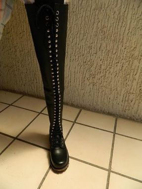"Custom Made Engineer Boots 34"" Lace Up Shafts Heavy Leather Made To Order Boots Any Size New"