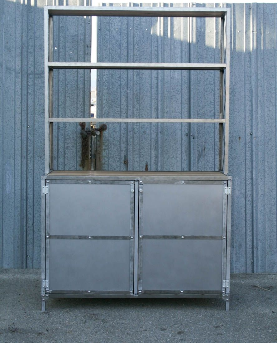 Buy a Handmade Vintage Industrial Hutch/Buffet With Shelves. Urban ...
