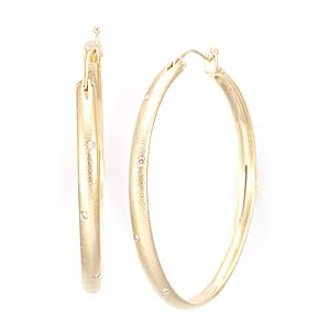 Custom Made Big Diamond Hoop Earrings In 14k Yellow Gold, Hoop Earrings, Diamond Earrings