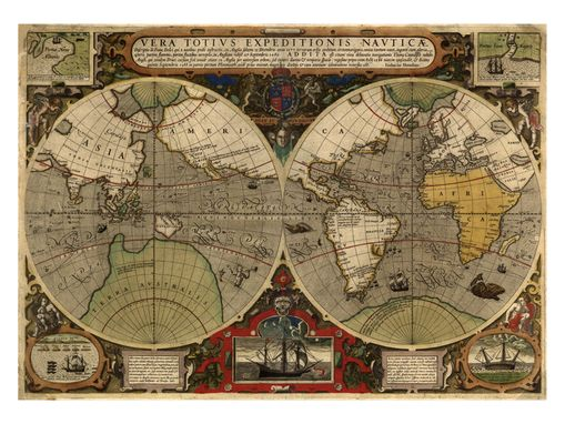 Custom Made 1595 Hondius Map Of The World