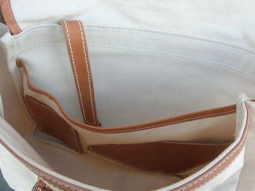 Custom Made Canvas & Leather Messenger Bag