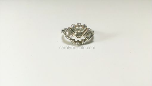 Custom Made White Gold And Diamond Ring - Art Deco Style