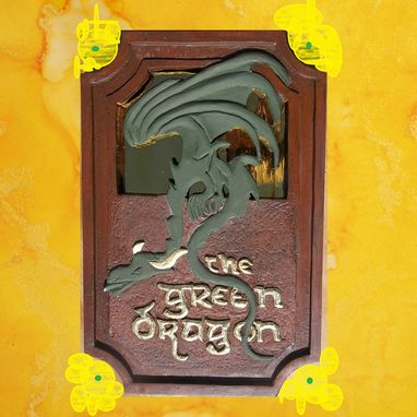 Custom Made The Green Dragon Carved Gilded Sign