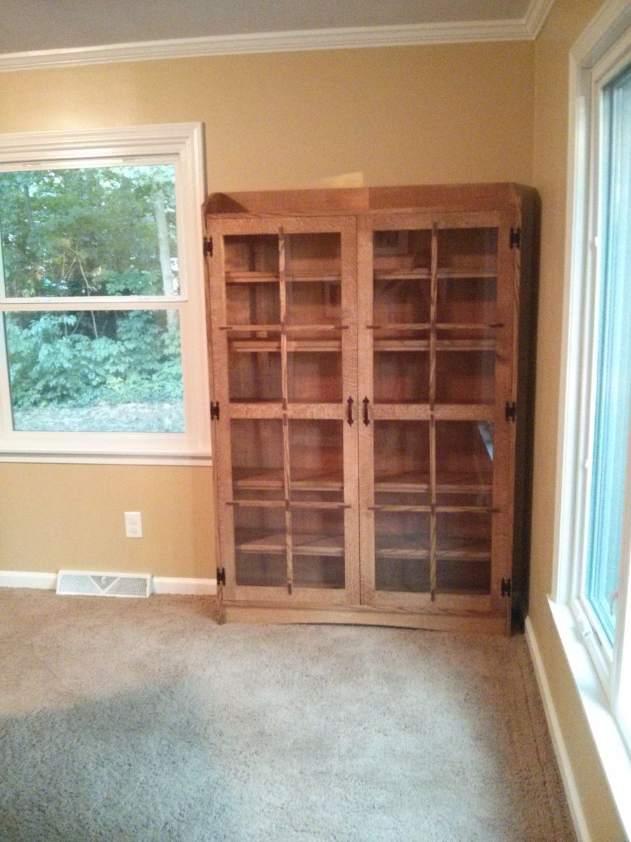 custom made quartersawn oak mission style bookcase by the mi