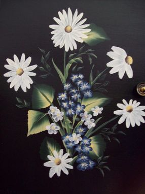 Custom Made Wooden Cabinet, Handpainted With Daisies