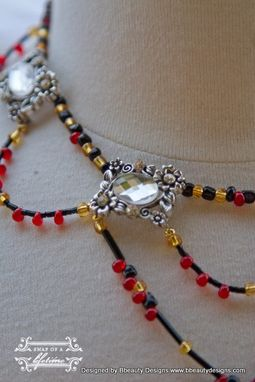 Custom Made Queen Of Hearts Inspired Heart Necklace Choker In Gold Red Black Custom