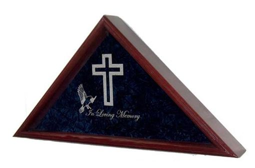 Custom Made Large Flag Display Case With Engraved Symbols Of Faith