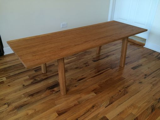 Custom Made Large Reclaimed Red Oak Mid-Century Modern Inspired Coffee Table