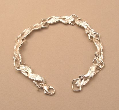 Custom Made Sterling Silver Mermaid Link Bracelet 7""