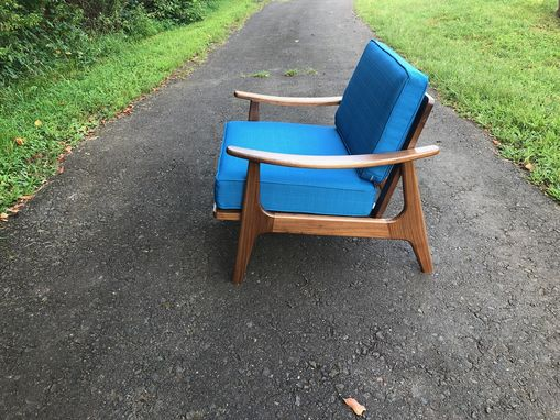 Custom Made Mid Century Style Walnut Accent Chair